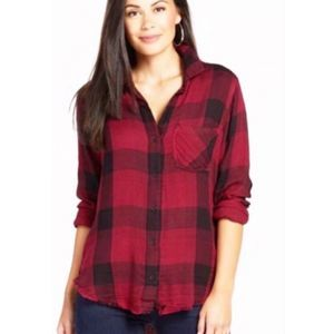 Anthropologie cloth & Stone plaid top small